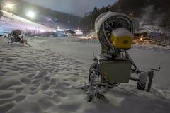 泛光灯在winterberg德国的冬季体育 库存图片