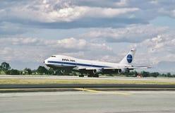泛美航空波音B-747着陆在1986年3月28日洛杉矶在从东京的一次飞行以后 免版税库存图片