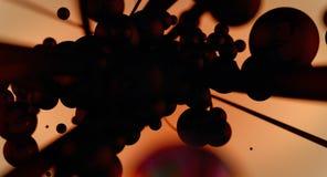 泡影和缆绳-抽象背景黑群 库存图片