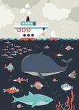 泡影复制鱼例证生活海运海草空间文本向量 gili印度尼西亚海岛在海龟水下的世界附近的lombok meno 免版税库存图片