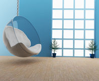 泡影沙发在3D的屋子内部里回报图象 免版税库存照片