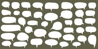 泡影设置了演讲向量 空白的空的白色讲话泡影 动画片气球词设计 向量例证