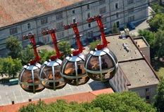 泡影-长平底船球状缆车,格勒诺布尔 库存图片