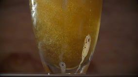 泡沫似的啤酒涌入了玻璃 股票视频