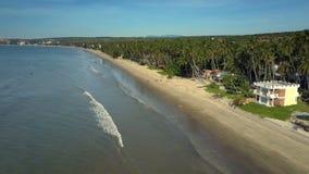 泡沫似的波浪通过滚动移动在海滩在棕榈鞋帮视图 影视素材