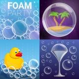 泡沫作用横幅集合,动画片样式 皇族释放例证