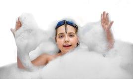 浴泡沫的女孩 图库摄影