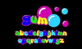 泡泡糖五颜六色的风格化字体 库存例证