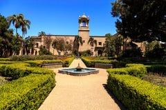 巴波亚公园的美丽的城堡庭院在圣地亚哥 免版税库存照片
