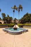 巴波亚公园的美丽的城堡庭院在圣地亚哥 免版税库存图片