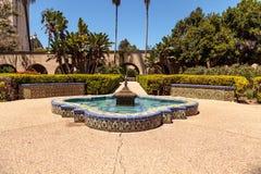 巴波亚公园的美丽的城堡庭院在圣地亚哥 免版税图库摄影