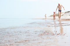 波儿地克的海边和家庭 库存照片