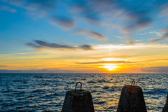 波儿地克的美好的平静海运日落 免版税库存图片