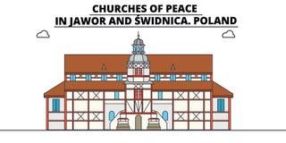 波兰、亚沃尔和希维德尼察,和平,旅行地平线传染媒介例证教会  向量例证