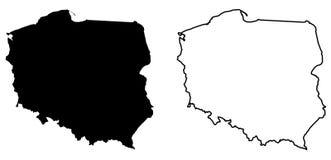 波兰传染媒介图画仅简单的锋利的角落地图  梅卡 库存例证