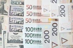 波兰兹罗提、欧元和美元 免版税库存图片