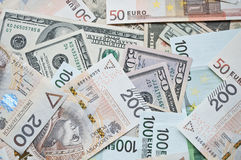 波兰兹罗提、欧元和美元 免版税库存照片