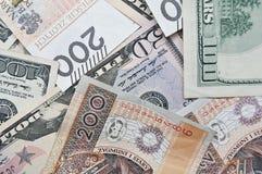 波兰兹罗提和美元,现金 免版税库存图片