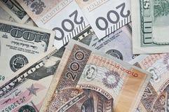 波兰兹罗提和美元,现金 库存图片