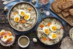 波兰发酵母汤- zurek或白色罗宋汤供食用鸡蛋 图库摄影