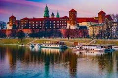 波兰国王的皇家城堡Wawel小山的 免版税库存图片