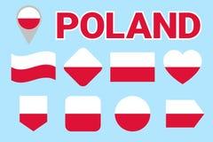 波兰旗子传染媒介集合 波兰国旗的汇集 舱内甲板被隔绝的象,传统颜色 例证 网,体育pa 皇族释放例证