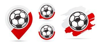 波兰橄榄球传染媒介象 足球目标 套橄榄球象 库存例证