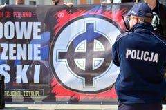 波兰民族主义者在华沙召集抗议在欧盟的国家的会员资格 免版税库存照片