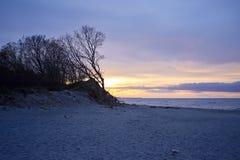 波兰海岸日落 库存图片