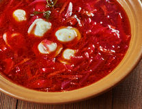 波兰甜菜汤用饺子 免版税库存图片