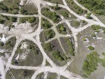波兰的南部的被贬低的风景老煤矿 被毁坏的l 免版税图库摄影