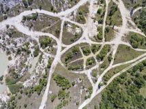 波兰的南部的被贬低的风景老煤矿 被毁坏的l 免版税库存图片