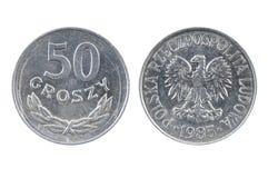波兰的老硬币 50波兰钱币1985年 图库摄影