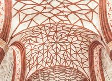 波兰的视域。美丽的穹顶在哥特式教会里。 免版税图库摄影