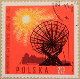 波兰的邮政邮票,致力安静的太阳的年 库存图片