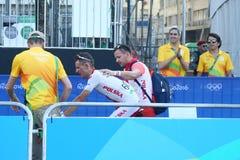 波兰的青铜色奖章获得者Rafal Majka在里约以后2016年奥运会的结束里约2016奥林匹克自行车道竞争的 库存图片