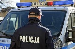 波兰警察签字 免版税图库摄影