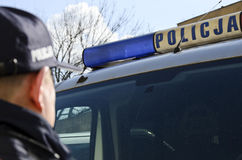 波兰警察签字 免版税库存照片