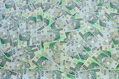 波兰语100张兹罗提钞票背景 库存照片