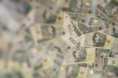波兰货币钞票作为背景100 zl 免版税图库摄影
