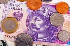 波兰金钱国际性组织currencie外币特写镜头  库存图片