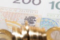 波兰金钱,特写镜头 免版税库存图片