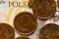 波兰钞票,特写镜头 图库摄影