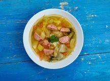 波兰香肠和圆白菜汤 库存图片