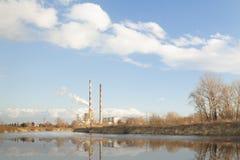 波兰,克拉科夫,同时发热发电植物 免版税库存图片