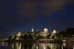 波兰,克拉科夫, Wawel皇家城堡升 免版税库存图片