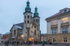 波兰,克拉科夫- 2015年1月01日:圣安德鲁教会  免版税库存照片