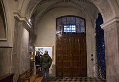 波兰,克拉科夫- 2015年1月01日:在圣安德鲁里面教会  库存图片