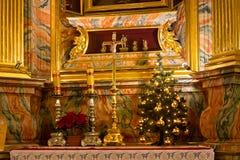 波兰,克拉科夫- 2015年1月01日:在Sts里面宽容修道院教会  锡耶纳Bernardine  免版税库存照片