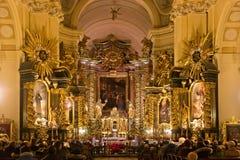 波兰,克拉科夫- 2015年1月01日:在Sts里面宽容修道院教会  锡耶纳Bernardine  库存图片
